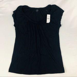 NWT Loft Short Sleeve Top Ruffle Collar Blue Small